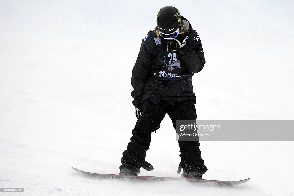 Sage Kotsenburg hangs his head after not placing following his second run during the slopestyle finals of the Copper Moutain Grand Prix. Riders competed in this stage of the FIS Snowboard World Cup 2014 on Sunday, December 22, 2013.