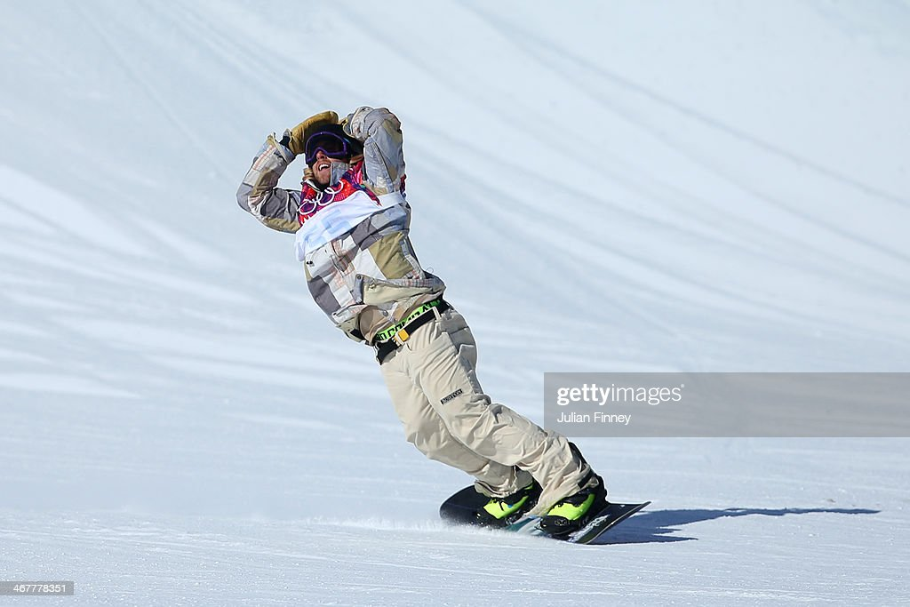 <a gi-track='captionPersonalityLinkClicked' href=/galleries/search?phrase=Sage+Kotsenburg&family=editorial&specificpeople=6711370 ng-click='$event.stopPropagation()'>Sage Kotsenburg</a> of the United States reacts after his first run during the Snowboard Men's Slopestyle Final during day 1 of the Sochi 2014 Winter Olympics at Rosa Khutor Extreme Park on February 8, 2014 in Sochi, Russia.