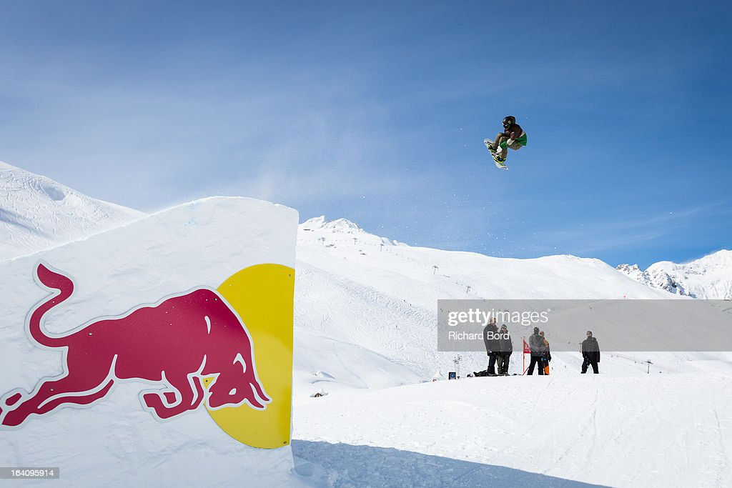 Sage Kotsenburg of the USA performs during the Slopestyle snowboard training sessions during day two of Winter X Games Europe 2013 on March 19, 2013 in Tignes, France.