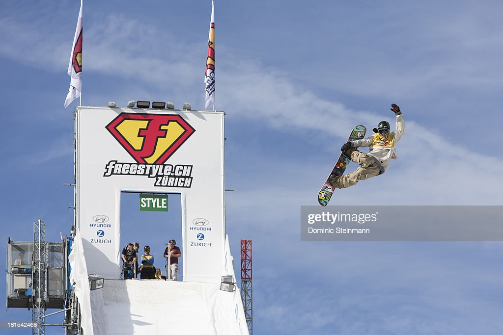 Sage Kotsenburg of USA jumps down the Big Air at the qualification run at freestyle.ch Zurich 2013 on September 22, 2013 in Zurich, Switzerland.