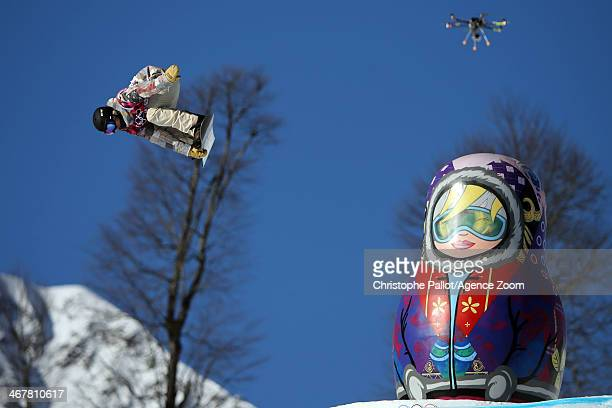 Sage Kotsenburg of USA takes 1st place during the Snowboarding Men's Slopestyle at the Rosa Khutor Extreme Park on February 08 2014 in Sochi Russia