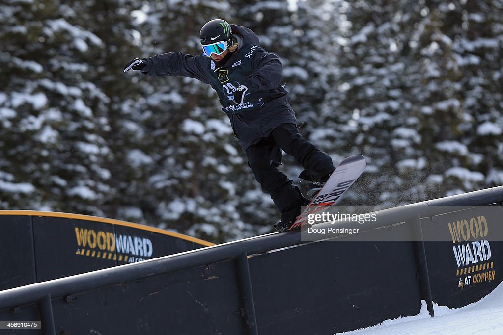 Sage Kotsenburg rides to 14th place in the men's FIS Snowboard Slopestyle World Cup at the U.S. Snowboarding and Freeskiing Grand Prix on December 22, 2013 in Copper Mountain, Colorado.