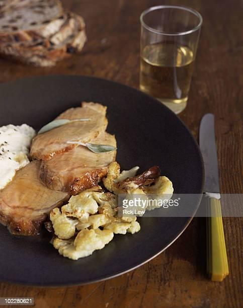 Sage pork loin with roasted cauliflower
