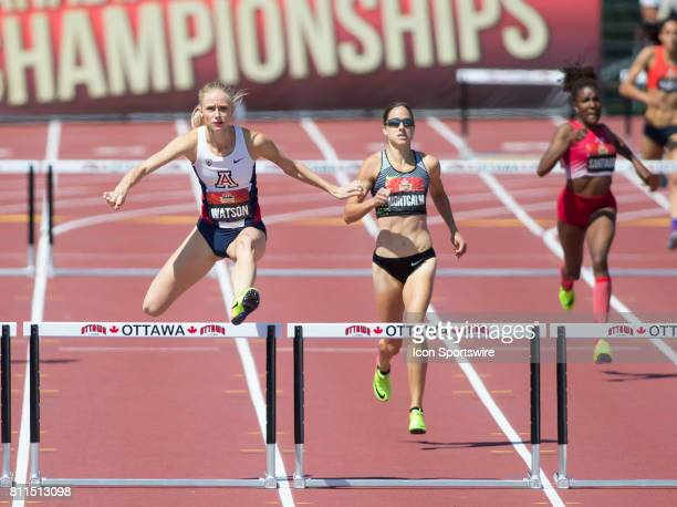 Sage Watson and Noelle Montcalm in the 400m hurdles final at the Canadian Track and Field Championships on 9 July 2017 at the Terry Fox Athletic...