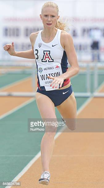 Sage Watson from Calgary finishes second the 400 metres hurdles final during the second day of the 2016 Canadian Track amp Field Championship at...