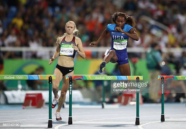 Sage Watson of Canada and Dalilah Muhammad of the United States compete in the Women's 400m Hurdles semifinal on Day 11 of the Rio 2016 Olympic Games...