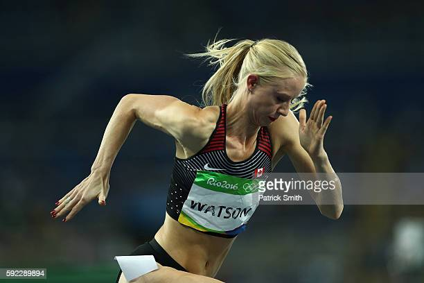 Sage Watson of Canada competes during the Women's 400m Hurdles semifinal on Day 11 of the Rio 2016 Olympic Games at the Olympic Stadium on August 16...
