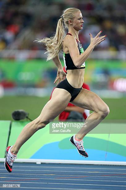 Sage Watson of Canada competes in the Women's 400m Hurdles on day 11 of the Rio 2016 Olympic Games at Olympic Stadium on August 16 2016 in Rio de...