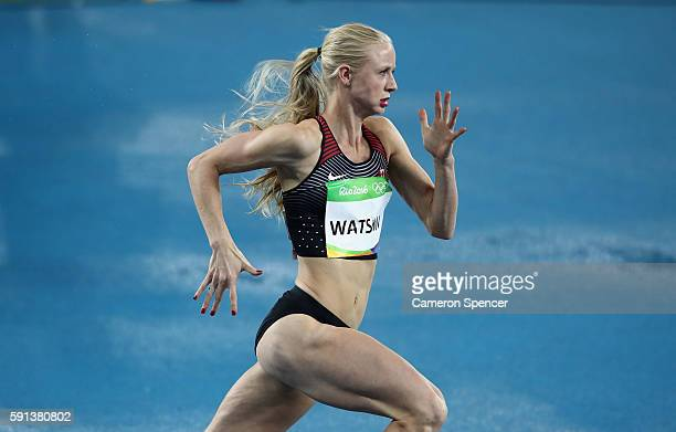 Sage Watson of Canada competes in the Women's 400m Hurdles Round 1 on Day 10 of the Rio 2016 Olympic Games at the Olympic Stadium on August 15 2016...