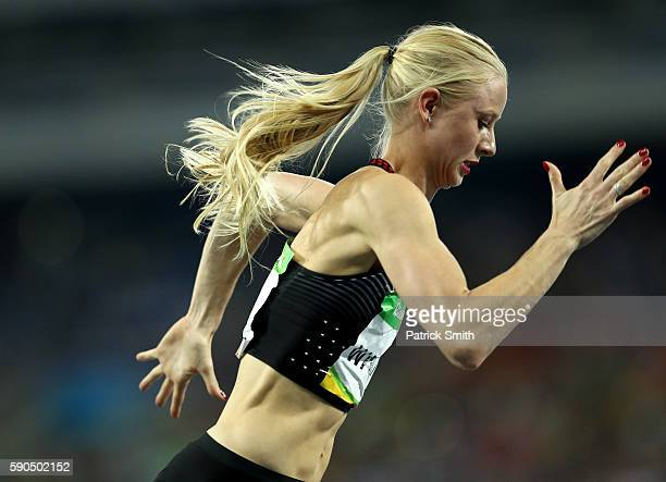 Sage Watson of Canada competes in the Women's 400m Hurdles Semifinals on Day 11 of the Rio 2016 Olympic Games at the Olympic Stadium on August 16...