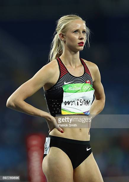 Sage Watson of Canada looks on during the Women's 400m Hurdles semifinal on Day 11 of the Rio 2016 Olympic Games at the Olympic Stadium on August 16...