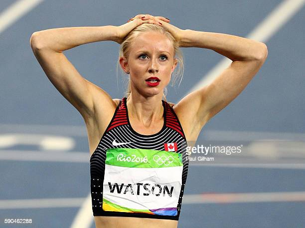 Sage Watson of Canada reacts during the Women's 400m Hurdles Semifinals on Day 11 of the Rio 2016 Olympic Games at the Olympic Stadium on August 16...