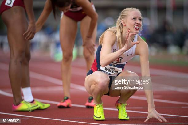 Sage Watson of the University of Arizona races to a first place finish in the 400 meter hurdles during the Division I Women's Outdoor Track Field...