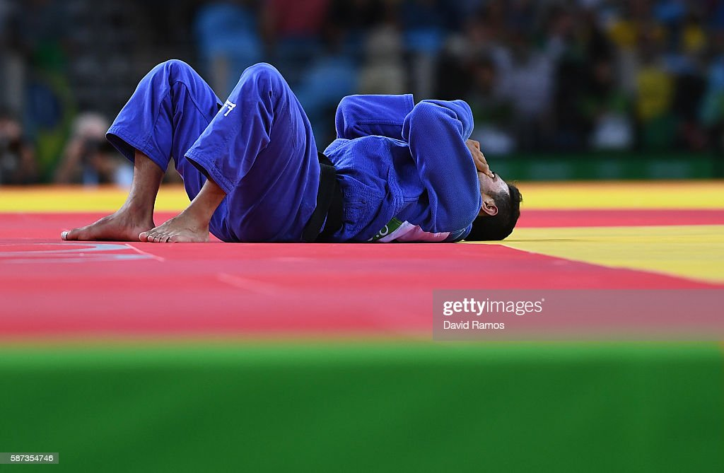 Sagi Muki of Israel reacts after being defeated by Lasha Shavdatuashvili of Georgia in the Men's 73 kg Contest for Bronze Medal A on Day 3 of the Rio...