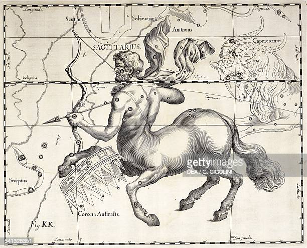 Sagittarius the zodiacal constellation of the Archer illustration taken from Johann Hevelius's star atlas Firmamentum Sobiescianum sive Uranographia...