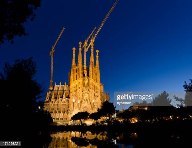 Sagrada Famlia cathedral illuminated at night, Barcelona