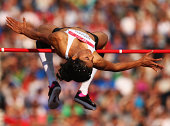 Sahana Nagaraj Gobbargumpi of India competes in the Women's High Jump final at Hampden Park during day nine of the Glasgow 2014 Commonwealth Games on...