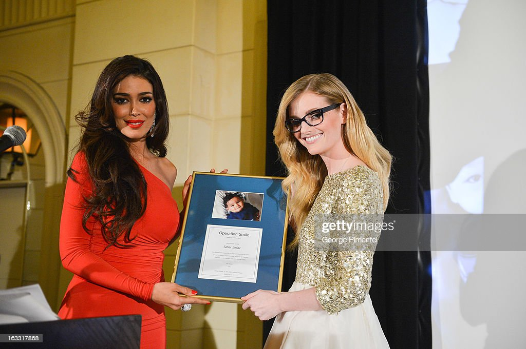 Sahar Biniaz, Miss Universe Canada 2012 and <a gi-track='captionPersonalityLinkClicked' href=/galleries/search?phrase=Lydia+Hearst&family=editorial&specificpeople=221723 ng-click='$event.stopPropagation()'>Lydia Hearst</a> attend Operation Smile's Toronto Smile Event at Windsor Arms Hotel on March 7, 2013 in Toronto, Canada.