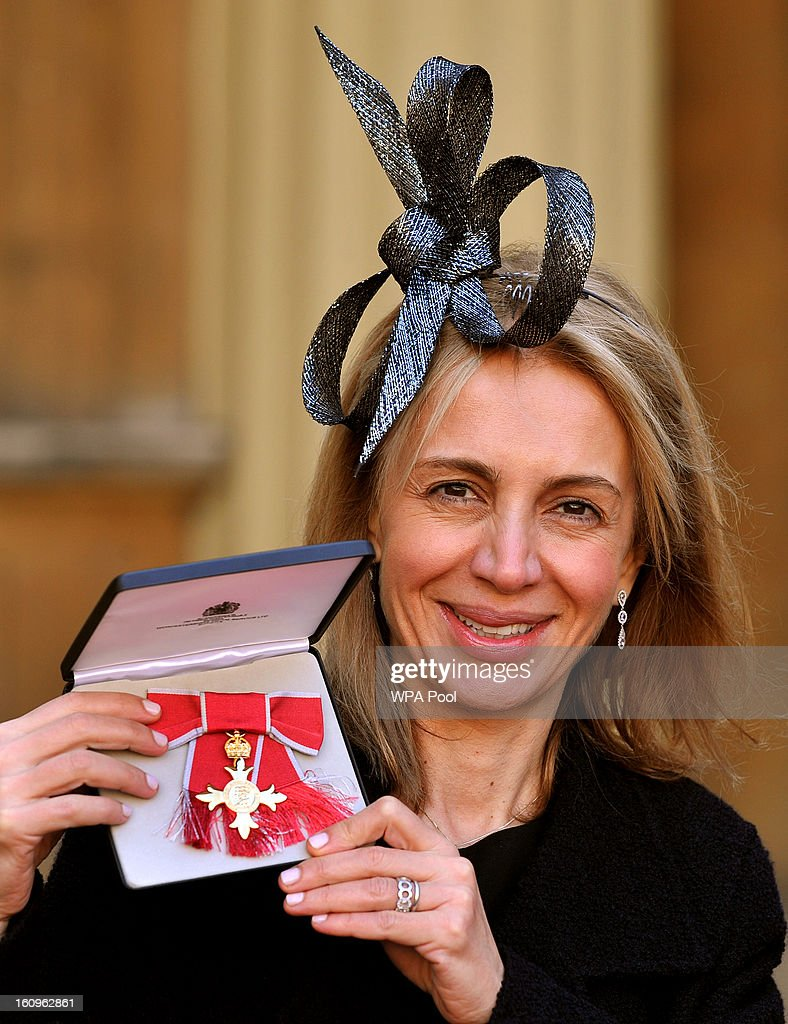Sahar Heshemi the Entrepreneur proudly holds her OBE (Order of the British Empire), after it was presented to her by the Prince of Wales at an Investiture Ceremony, in Buckingham Palace on February 8, 2013 in London, England.