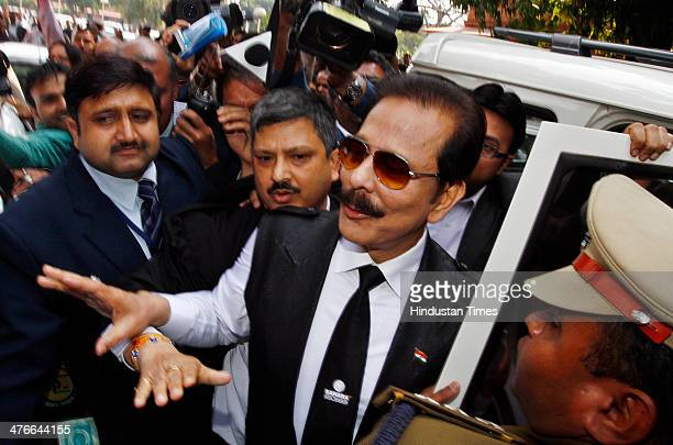 Sahara Chairman Subrata Roy arrives at the Supreme Court on March 4 2014 in New Delhi India An attacker Manoj Sharma claiming to be a lawyer from...