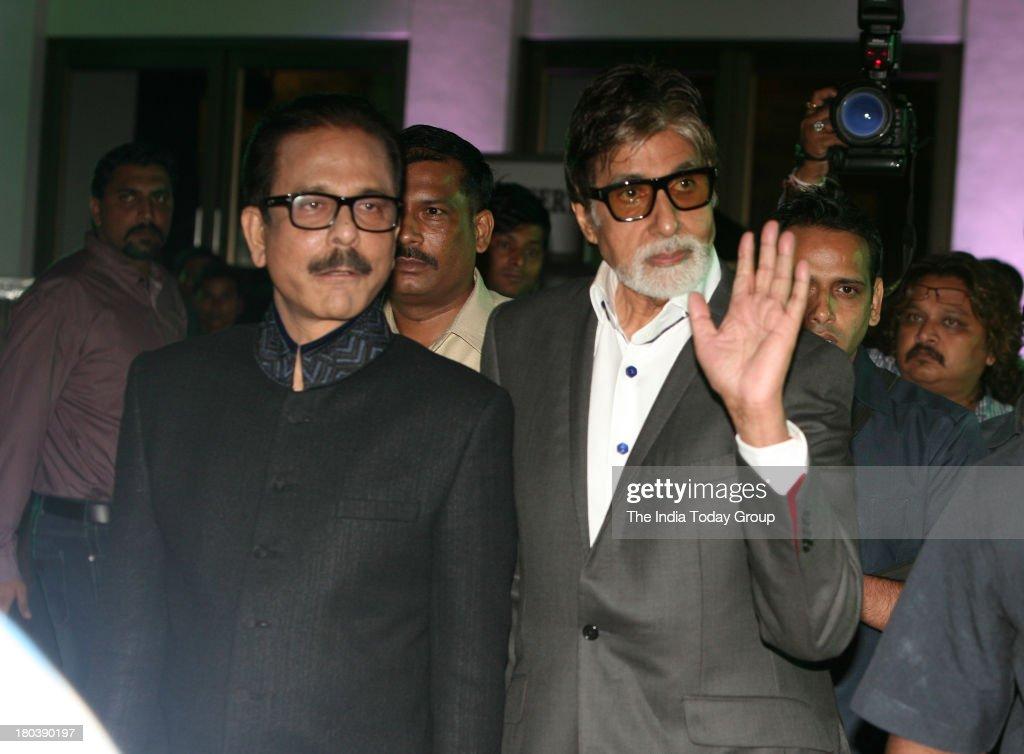 Sahara chief Subrata Roy and bollywood actor Amitabh Bachchan at the 64th birthday celebrations of actor turned producer Rakesh Roshan at Blue Sea, Worli Seaface on September 6, 2013 in Mumbai.