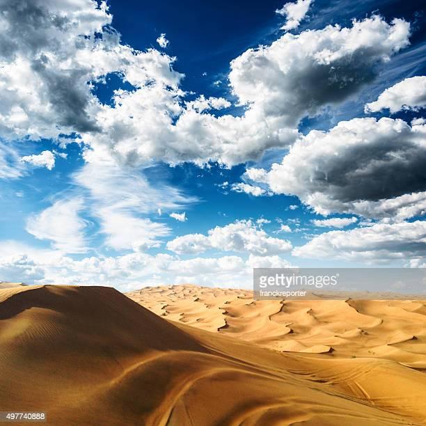 sahara desert landscape with cloudy sky