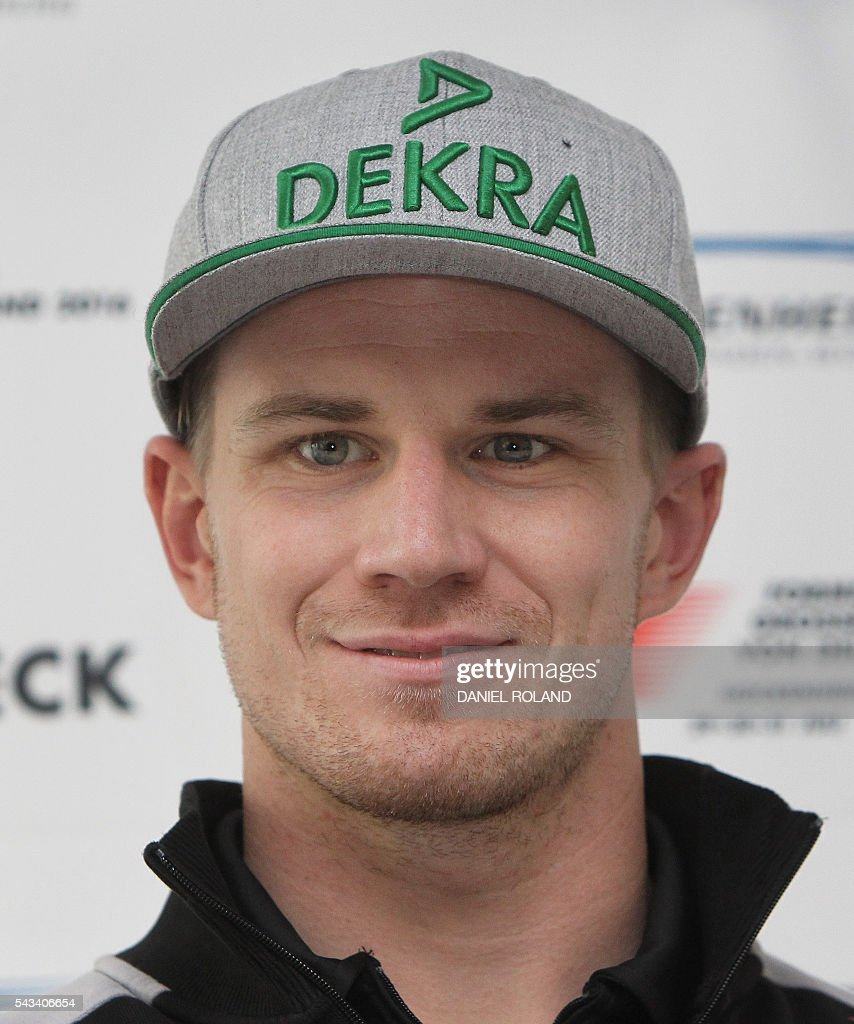 Sahara Force India F1 Team's German driver Nico Huelkenberg addresses the media during the Hockenheim-Ring Media Day at the race track in Hockenheim, Germany, on June 28, 2016. The German Grand Prix will take place on July 31, 2016 at Hockenheim race track. / AFP / DANIEL