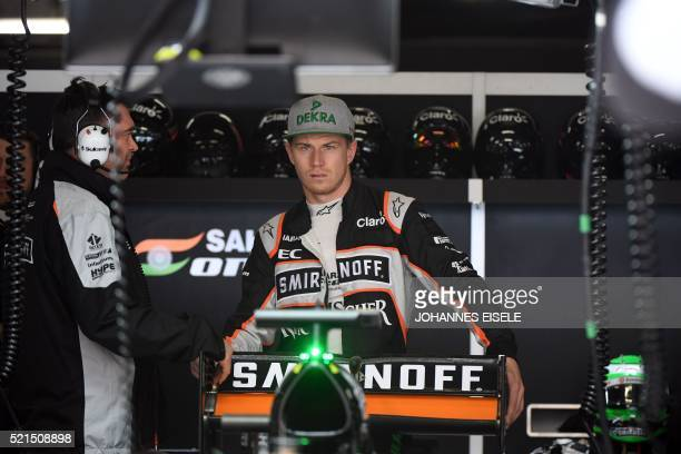 CORRECTION Sahara Force India F1 Team's German driver Nico Hulkenberg in his car during the third practice session at the Formula One Chinese Grand...