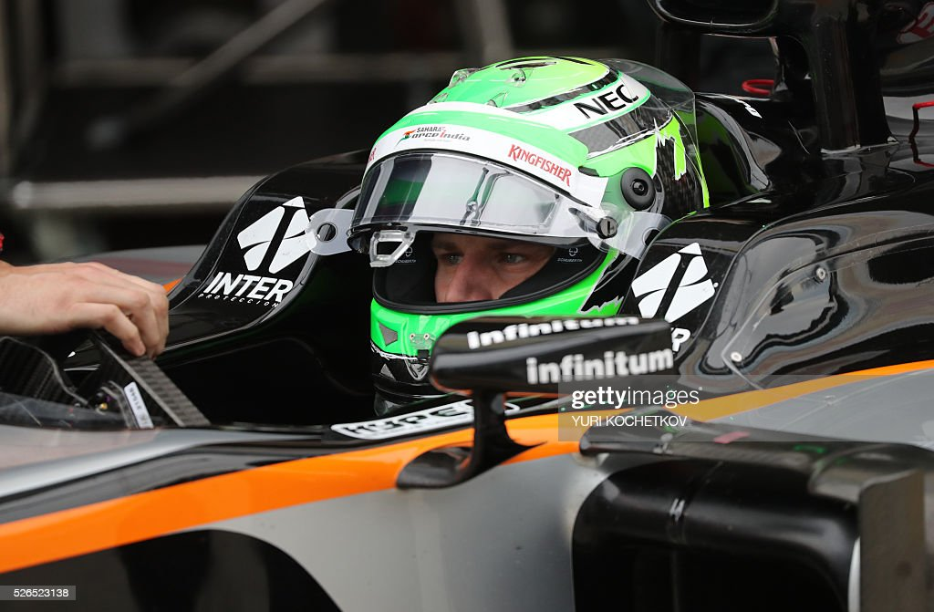 Sahara Force India F1 Team's German driver Nico Hulkenberg sits in his car during the qualifying session of the Formula One Russian Grand Prix at the Sochi Autodrom circuit on April 30, 2016. / AFP / POOL / YURI
