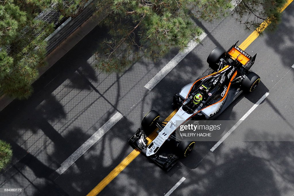 Sahara Force India F1 Team's Mexican driver Sergio Perez drives during the first practice session at the Monaco street circuit, on May 26, 2016 in Monaco, three days ahead of the Monaco Formula 1 Grand Prix. / AFP / Valery HACHE