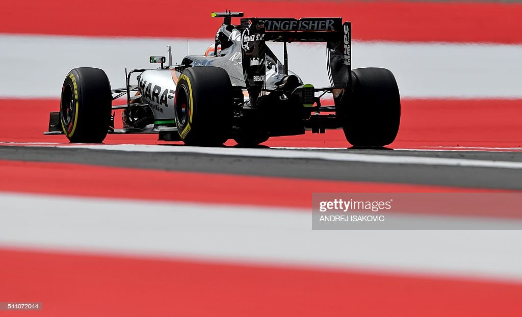 Sahara Force India F1 Team's Mexican driver Sergio Perez drives during the first practice session of the Formula One Grand Prix of Austria at the Red Bull Ring in Spielberg, on July 1, 2016. / AFP / ANDREJ