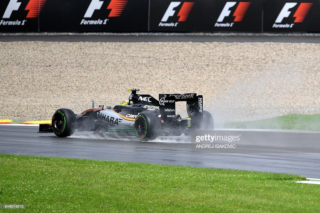 Sahara Force India F1 Team's Mexican driver Sergio Perez drives during the practice session of the Formula One Grand Prix of Austria in Spielberg, Austria on July 1, 2016. / AFP / ANDREJ