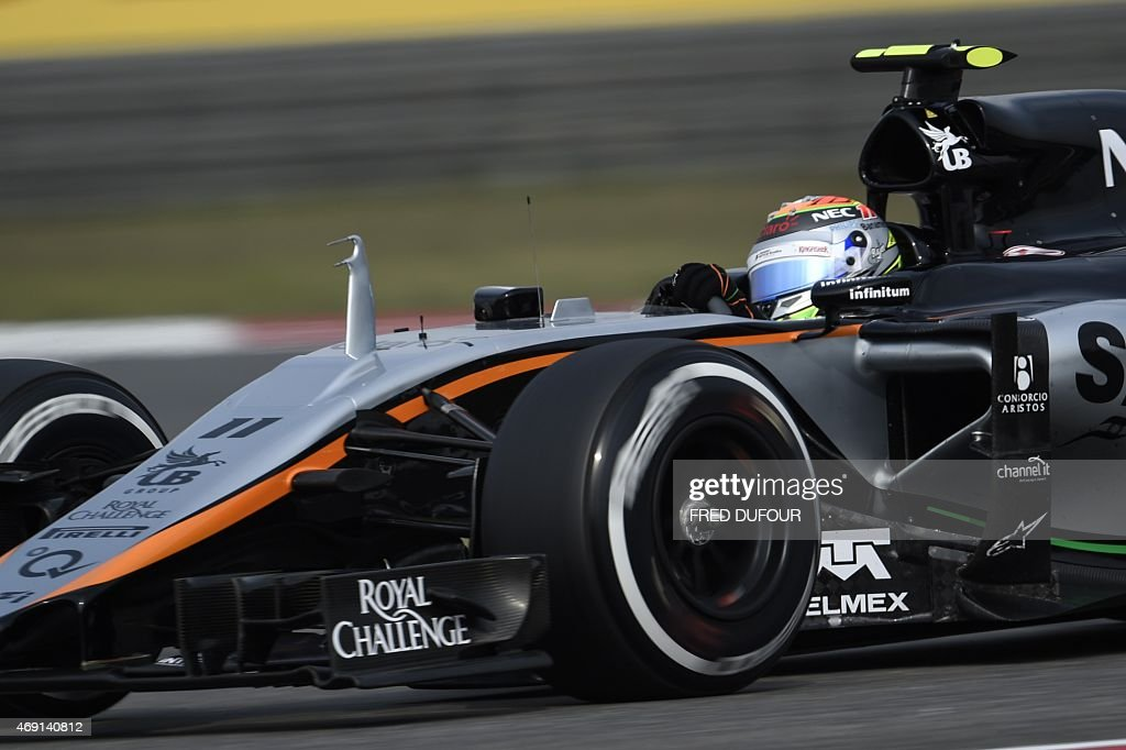Sahara Force India F1 Team's Mexican driver Sergio Perez drives his car during the second practice session of the Formula One Chinese Grand Prix in Shanghai on April 10, 2015.