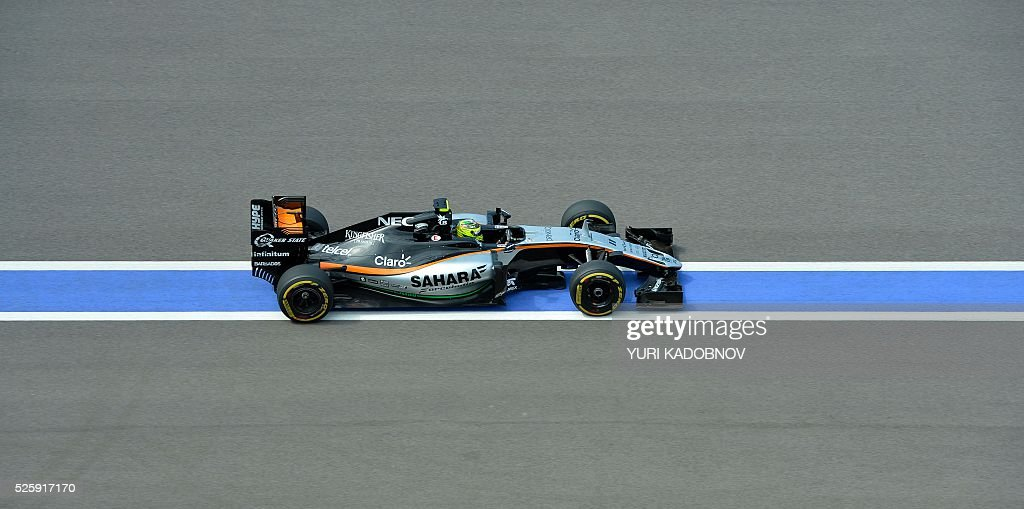 Sahara Force India F1 Team's Mexican driver Sergio Perez steers his car during the first practice session of the Formula One Russian Grand Prix at the Sochi Autodrom circuit on April 29, 2016. / AFP / YURI