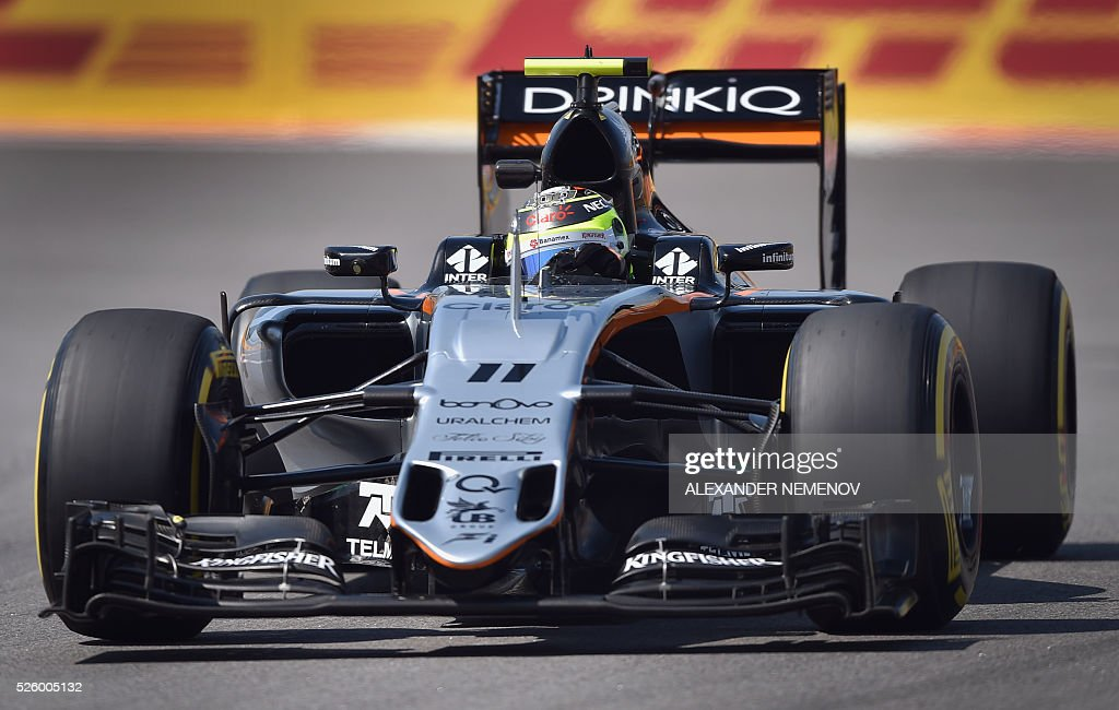 Sahara Force India F1 Team's Mexican driver Sergio Perez steers his car during the second practice session of the Formula One Russian Grand Prix at the Sochi Autodrom circuit on April 29, 2016. / AFP / ALEXANDER
