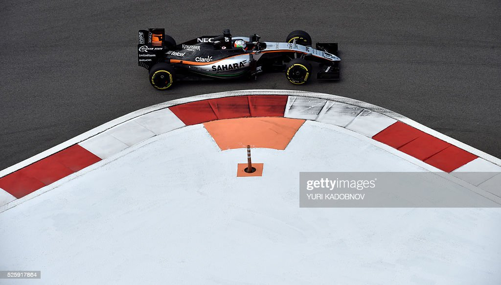 Sahara Force India F1 Team's Mexican test driver Alfonso Celis steers his car during the first practice session of the Formula One Russian Grand Prix at the Sochi Autodrom circuit on April 29, 2016. / AFP / YURI