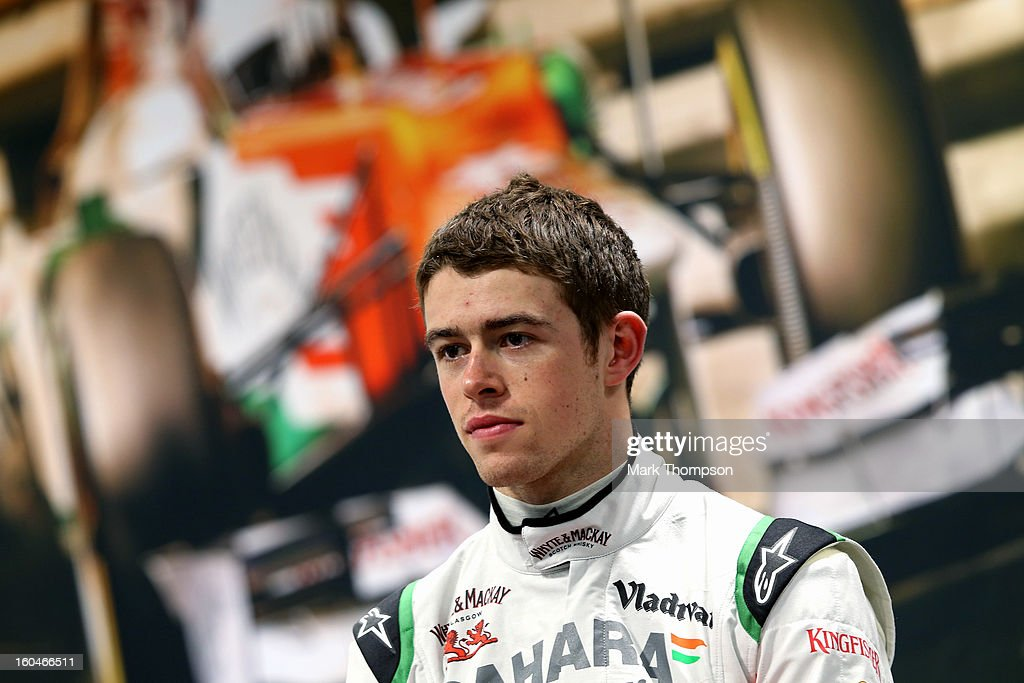 Sahara Force India Formula 1 driver <a gi-track='captionPersonalityLinkClicked' href=/galleries/search?phrase=Paul+Di+Resta&family=editorial&specificpeople=4239339 ng-click='$event.stopPropagation()'>Paul Di Resta</a> of Great Britain at a press conference during the unveiling of the team's new car for the 2013 Formula 1 season, the VJM06, during the launch at the Silverstone circuit on February 1, 2013 in Northampton, England.