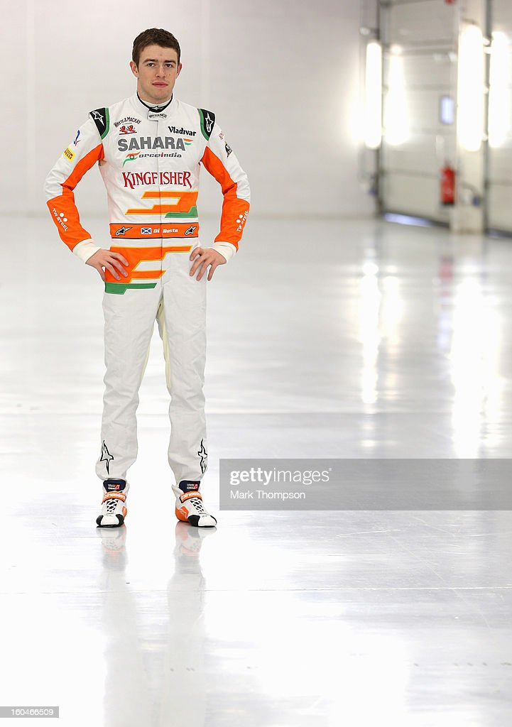 Sahara Force India Formula 1 driver <a gi-track='captionPersonalityLinkClicked' href=/galleries/search?phrase=Paul+Di+Resta&family=editorial&specificpeople=4239339 ng-click='$event.stopPropagation()'>Paul Di Resta</a> of Great Britain poses for a portrait during the unveiling of the team's new car for the 2013 Formula 1 season, the VJM06, during the launch at the Silverstone circuit on February 1, 2013 in Northampton, England.