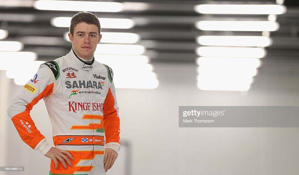 Sahara Force India Formula 1 driver Paul Di Resta of Great Britain poses for a portrait during the unveiling of the team's new car for the 2013 Formula 1 season, the VJM06, during the launch at the Silverstone circuit on February 1, 2013 in Northampton, England.