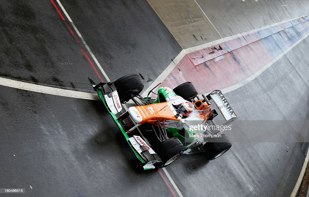 Sahara Force India Formula 1 driver Paul Di Resta of Great Britain drives the team's new car for the 2013 Formula 1 season, the VJM06, during the launch at the Silverstone circuit on February 1, 2013 in Northampton, England.