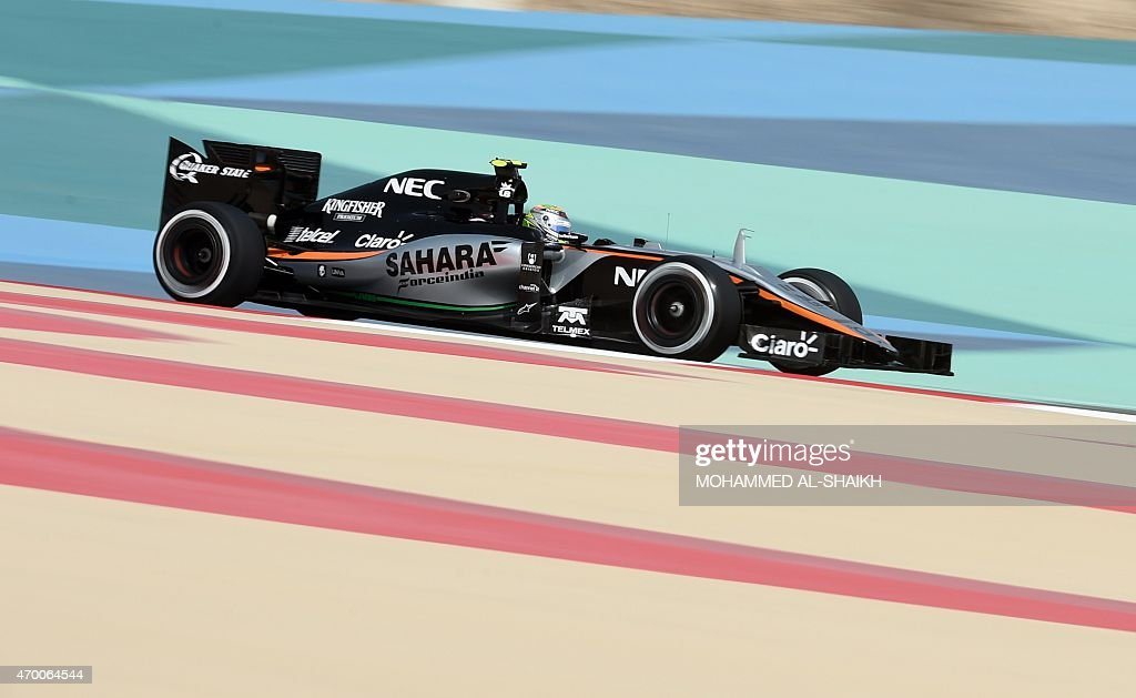 Sahara Force India Mexican driver Sergio Perez steers his car during a practice session on April 17, 2015 ahead of the weekend's Formula One Bahrain Prix at Sakhir circuit in Manama.