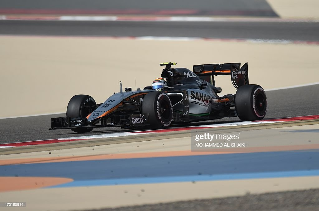 Sahara Force india Mexican driver Sergio Perez steers his car during the third practice session ahead of the Formula One Bahrain Grand Prix at the Sakhir circuit in the desert south of the Bahraini capital, Manama, on April 18, 2015.