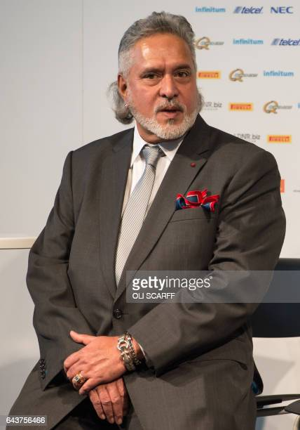 CORRECTION Sahara Force India's owner Vijay Mallya attends the launch of the Sahara Force India Formula One car for the 2017 season the VJM10 at the...