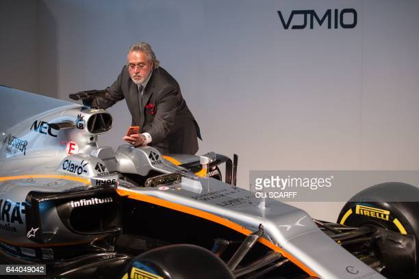 Sahara Force India's owner Vijay Mallya attends the launch of the Sahara Force India Formula One car for the 2017 season the VJM10 at the Silverstone...