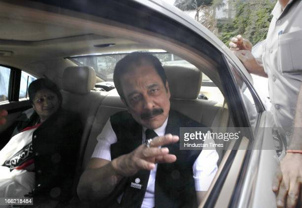 Sahara Group Chairman Subrata Roy accompanied by his security leaves the Securities and Exchange Board of India headquarters on April 8 2013 in...