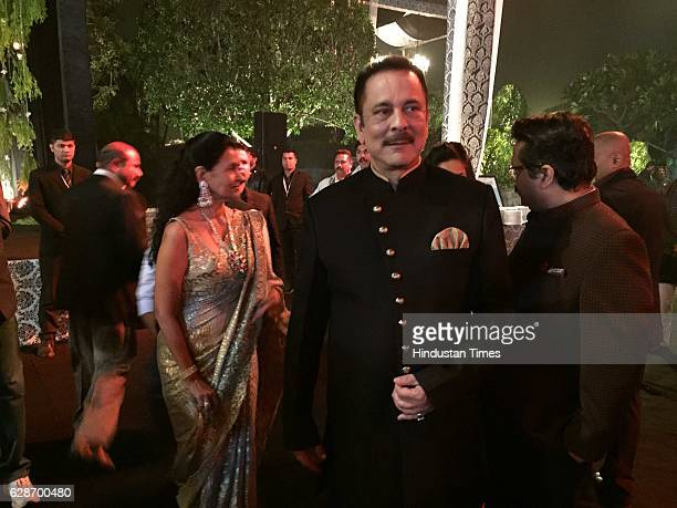 Sahara Group Chief Subrata Roy during the wedding reception of Indian Cricketer Yuvraj Singh and Bollywood actor Hazel Keech at ITC Maurya on...