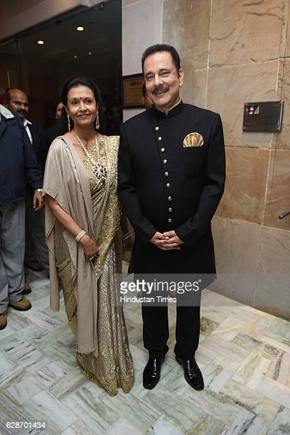 Sahara Group Chief Subrata Roy with his wife Swapna Roy during the wedding reception of Indian Cricketer Yuvraj Singh and Bollywood actor Hazel Keech...