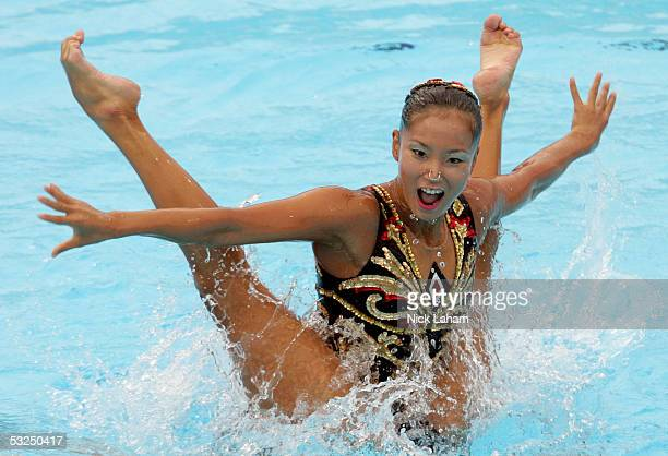Saho Harada and Emiko Suzuki of Japan perform during the synchronized swimming duet competition during the XI FINA World Championships at the Parc...