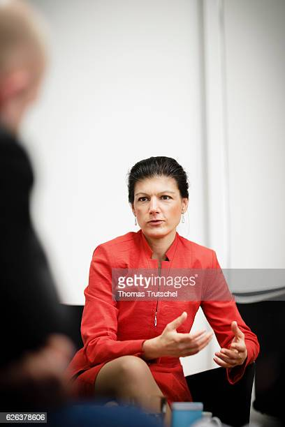Sahra Wagenknecht DIE LINKE faction in german parliament Bundestag gestures during an interview on November 23 2016 in Berlin Germany
