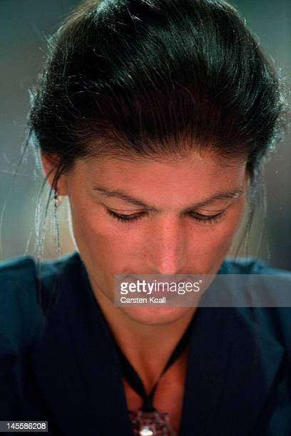 Sahra Wagenknecht leftwingmember of the farleft party Die Linke at the party's annual congress on June 2 2012 in Goettingen Germany Party members...